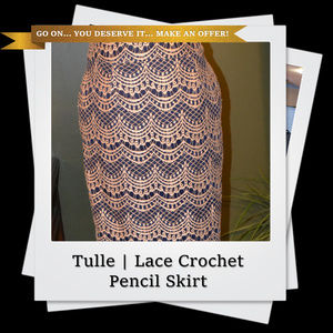 Tulle Blue and Cream Lace Crochet Pencil Skirt
